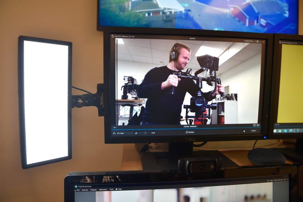 Daniel Lindau med en steadicam via skype